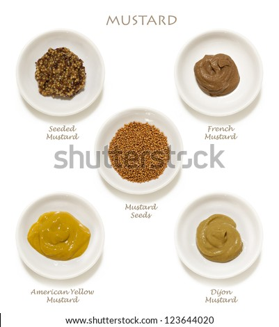 Collection of mustards, isolated on white.  Includes wholegrain, Dijon, American yellow, French, and mustard seeds.