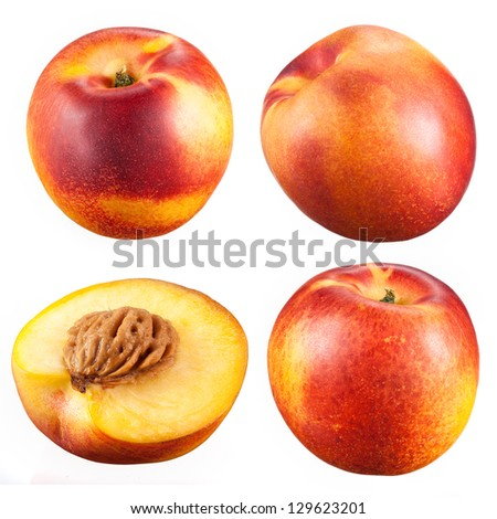collection of nectarines with a half isolated on white background