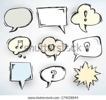 Collection of nine different doodled speech bubbles - raster version of vector illustration
