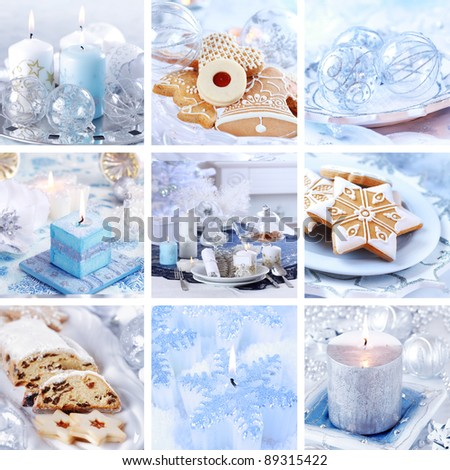 Collection of nine still live photos for Christmas in white and blue tone