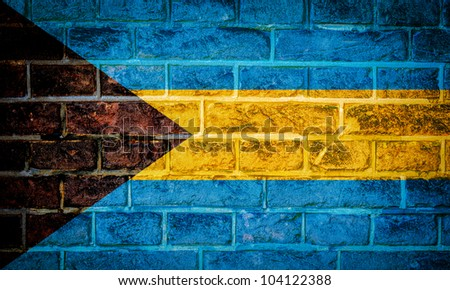 Collection of North America flag on old brick wall texture background, Bahamas