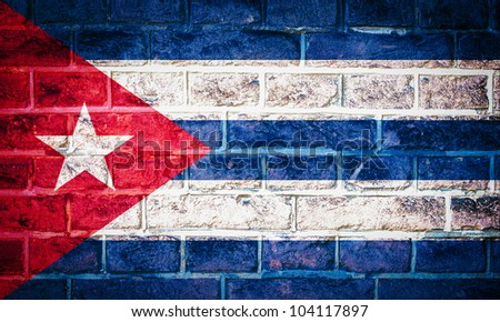 Collection of North America flag on old brick wall texture background, Cuba