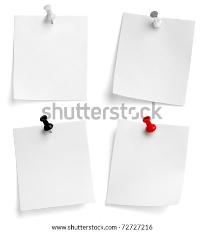 collection of note papers on white background. each one is shot separately