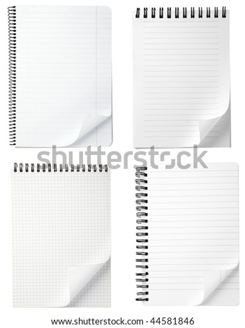 collection of note papers with curl on white background. each one is in full camera resolution