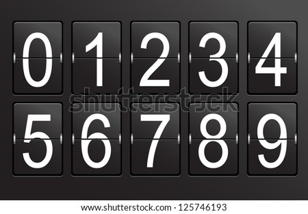 Collection of numbers on black, panel background.