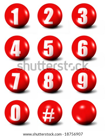 collection of numbers - red 3D spheres