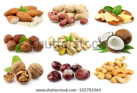 Collection of nuts: almonds,coconut,,peanut,brazilian nut,chestnut,filbert,cashew,walnut,pistachios