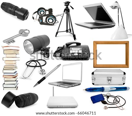 collection of objects is isolated on a white background