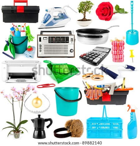 Collection of objects on white background