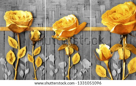 Collection of oil paintings. Decoration for interior. Modern abstract art on canvas. Set of pictures with different textures and colors. rose flowers on Gray wood background. gold . wood texture