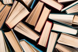 Collection of old books in library . Education background