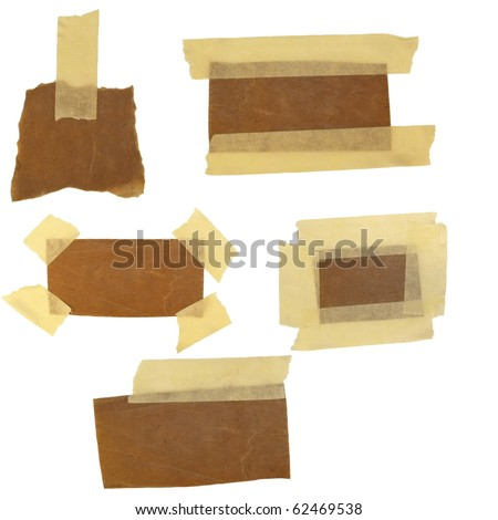 collection of old carton labels and adhesive tape (paper reminder) isolated on white background