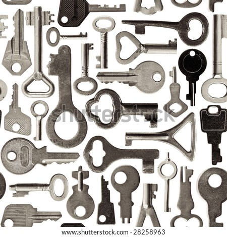 Collection of old keys isolated  seamless background toned