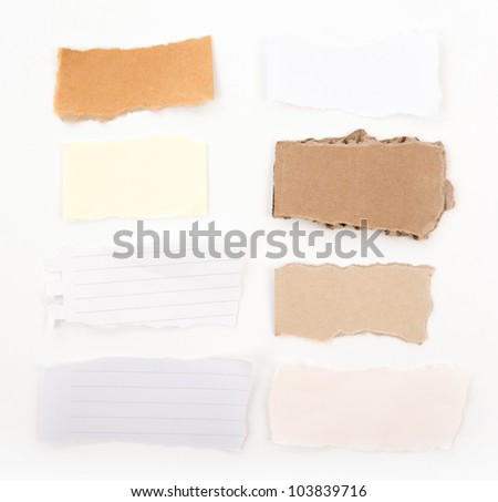 Collection of old note paper paper on white background
