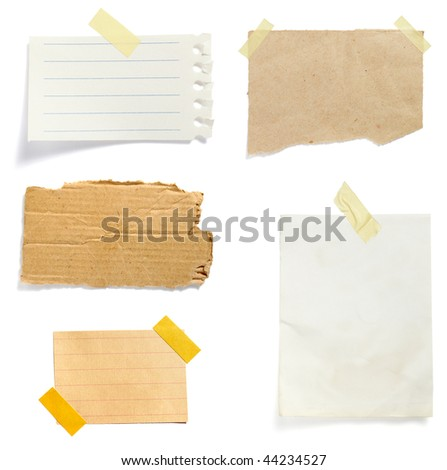 collection of old note paper paper on white background. each one is in full cameras resolution