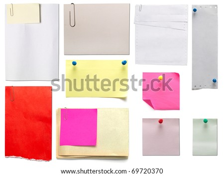 collection of old papers and stickers isolated on white