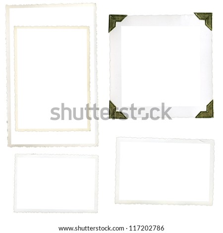 Collection of old photo corners, frames and edges isolated on white in high resolution