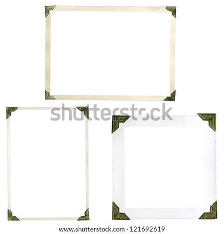 Collection of old photo corners, frames and edges isolated on white in high resolution #121692619