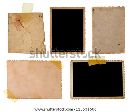collection of old photos and postcards on white background. each one is shot separately