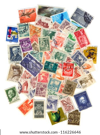 Collection of old postage stamps of Yugoslavia.
