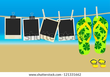 Collection of Old Retro Blank Photo Frames and Flip Flops Hanging on Rope - Summer Beach in Background