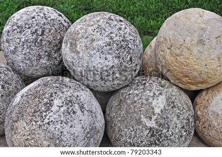 Collection of old stone cannon balls in ancient russian Goritsky monastery of Pereslavl-Zalessky