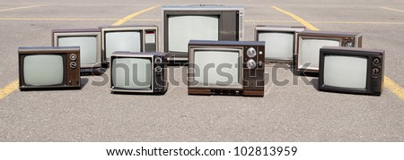 Collection of old TV sets