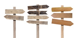 Collection of old various wooden sign isolated on white background. Object with clipping path.