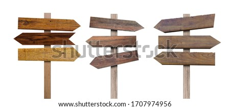 Collection of old various wooden sign isolated on white background. Object with clipping path. Stock photo ©