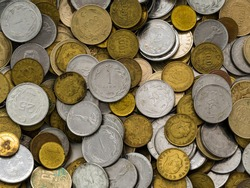 Collection of Old Vintage Rusted Turkish Liras Coins Background Patterns Macro Detailed View for Finance and economy