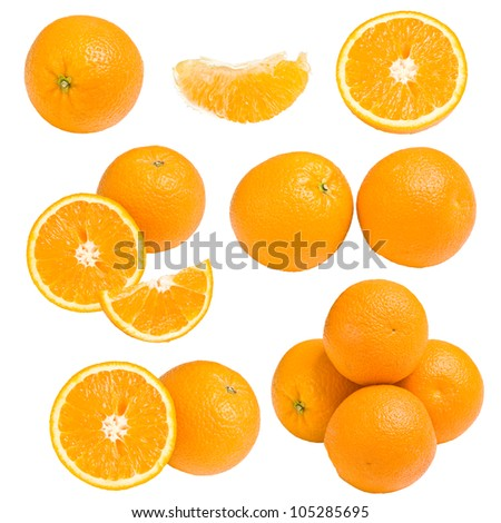 Collection of orange, isolated on white background