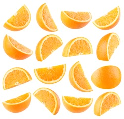 Collection of 16 orange slices isolated on white background