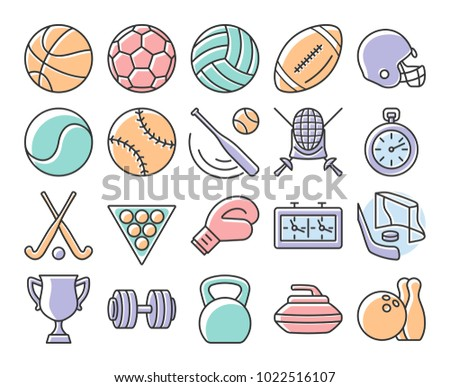Collection of outlined icons: Sport