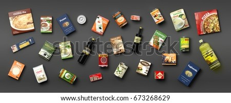 Collection of packaged food isolated on grey background. 3d illustration