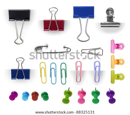 collection of paper clip, pin and thumbtack isolated over white background. each one shot separately. ready for your design - stock photo