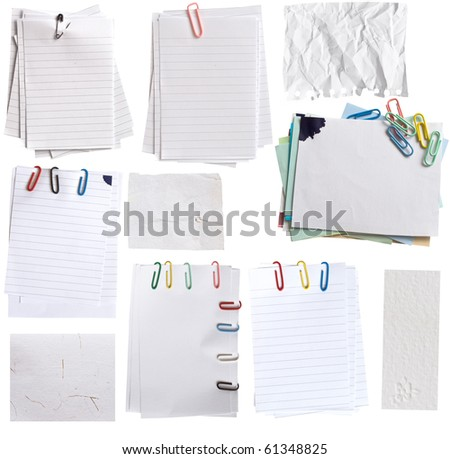 collection of paper notes with clips