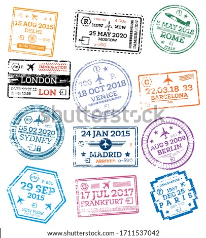 Collection of Passport Stamps Isolated on White. Set from Different Countries and Cities. Delhi. London. New York. Moscow. Paris. Barcelona. Rome.