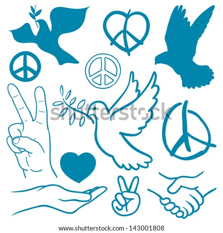 Collection of peace and love themed icons with white doves flying carrying olive branches v-sign hand gesture handshake of friendship hearts a cupped nurturing hand and v-sign antiwar icon