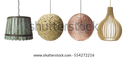 Collection of  pendants isolated on white, clipping path included, Set of Pendant light lamps isolated