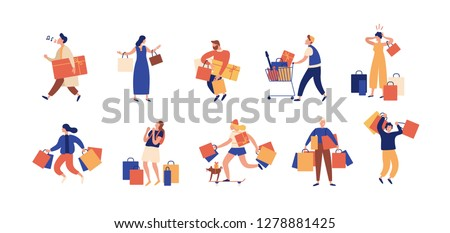 Collection of people carrying shopping bags with purchases. Men and women taking part in seasonal sale at store, shop, mall. Cartoon characters isolated on white background. Flat illustration.