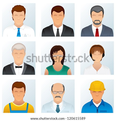 Collection of People Occupations. Abstract Avatars of Professional People Wearing in Uniforms and Costumes - stock photo