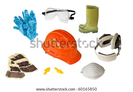 collection of personal safety equipment isolated on white