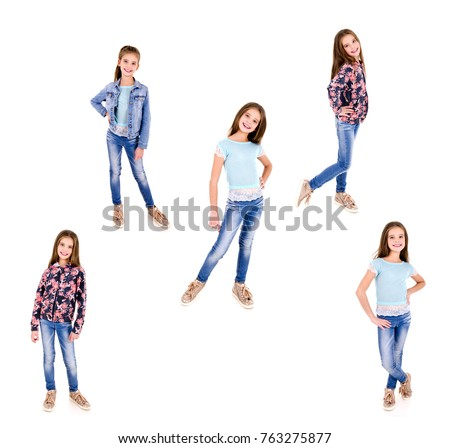 Collection of photos adorable smiling happy little girl child isolated on a white #763275877