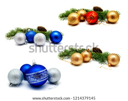 Collection of photos christmas decoration golden yellow red blue silver balls with fir cones and fir tree branches isolated on a white background