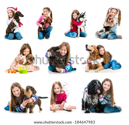 collection of photos of a happy little girl with pets