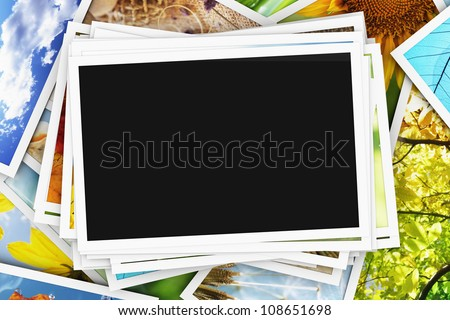 Collection of photos with an empty photo - stock photo