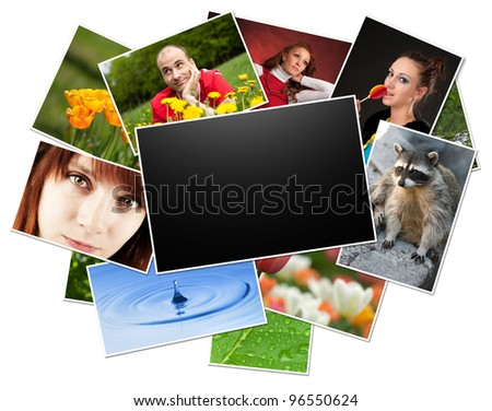 collection of photos with blank frame. Clipping path
