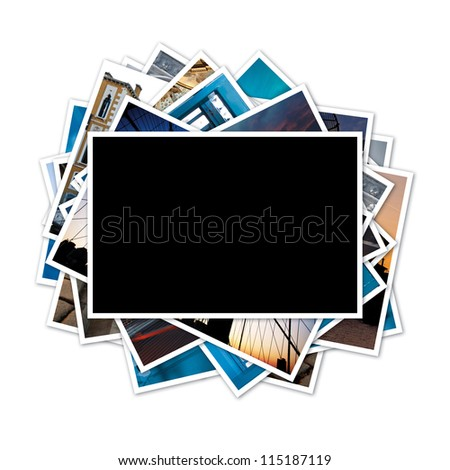 Collection of photos with blank frame in the middle on white background. Clipping path included.
