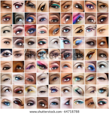 collection of 81 pictures of woman eyes with artistic make-up models of different ethnicities.