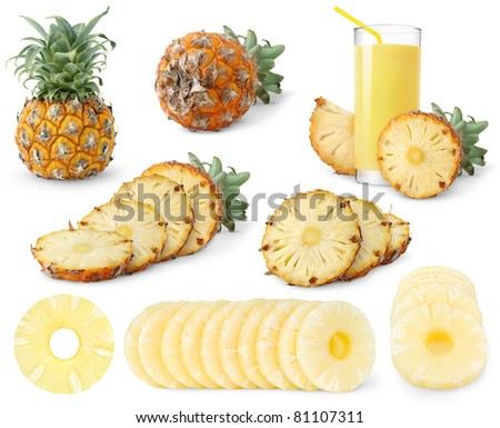 Collection of pineapples isolated on white